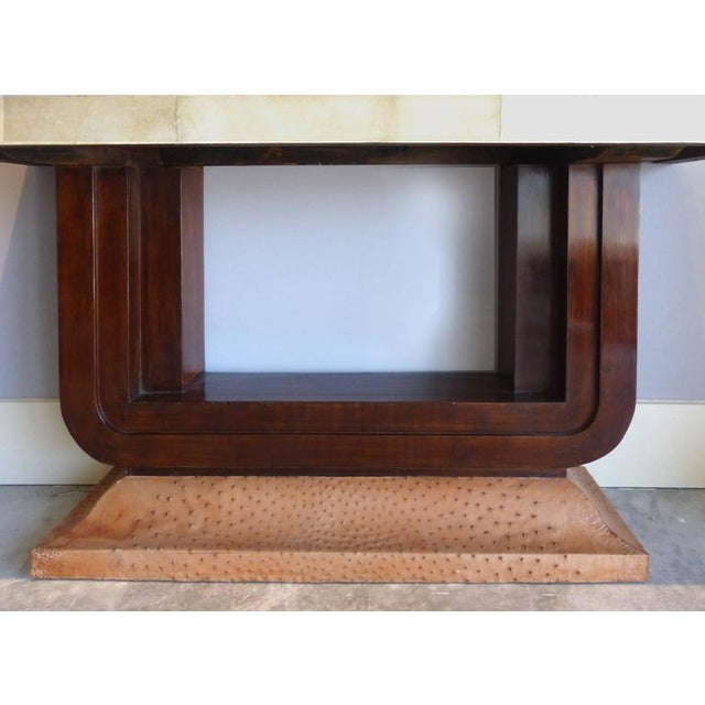 Art Deco Art Deco Goatskin and Ostrich Skin Clad Console Tables, Pair For Sale - Image 3 of 11