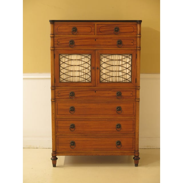 1950s Regency Kittinger Satinwood Chiffonier High Chest For Sale - Image 11 of 11