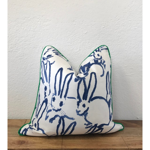"""20x20"""" Contemporary Blue Hunt Slonem Hutch Print Throw Pillow - Image 3 of 3"""
