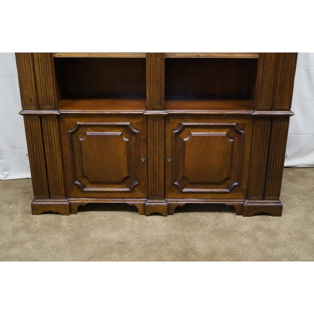 Large Italian Walnut Architectural Bookcase w/ Corinthian Columns For Sale - Image 5 of 10