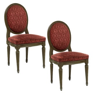 Pair of French Antique Louis XVI Style Medallion Back Chairs