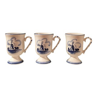 Vintage Delft Hand Painted Mugs - Set of 3