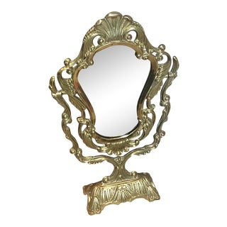 Brass Rocco Vanity Mirror Art Nouveau Articulating Victorian Large Tabletop For Sale