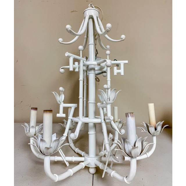 Chinese Chippendale Style Chandelier - 6 Arm For Sale - Image 4 of 6