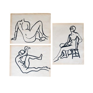 Original Mid-Century Triptych Nude Drawings - Set of 3