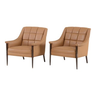 Kroehler Mid-Century Modern Upholstered Lounge Chairs - a Pair