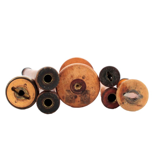 Antique Wooden Textile Spool Collection, Set of 7 For Sale - Image 4 of 6
