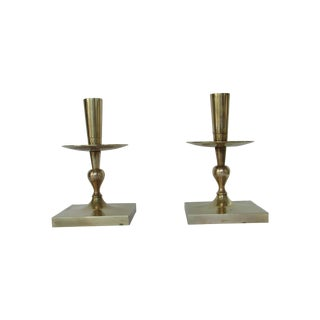Tommi Parzinger Brass Candlesticks - Pair For Sale