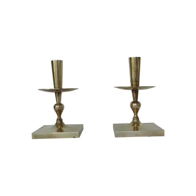 Tommi Parzinger Brass Candlesticks - Pair - Image 1 of 4