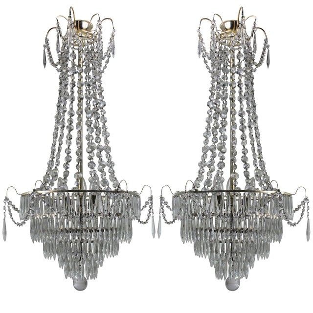 Pair of Swedish Chandeliers For Sale - Image 4 of 4