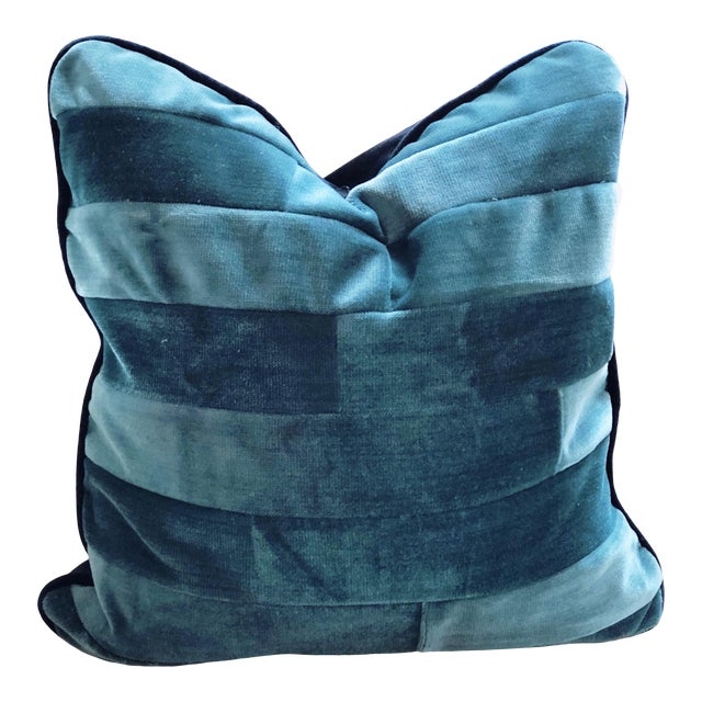 Tone on Tone Teal Stripe Velvet and Down Pillow For Sale