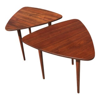 Vintage Scandinavian Jens Risom Guitar Pick Triangle Walnut Side Tables - a Pair For Sale