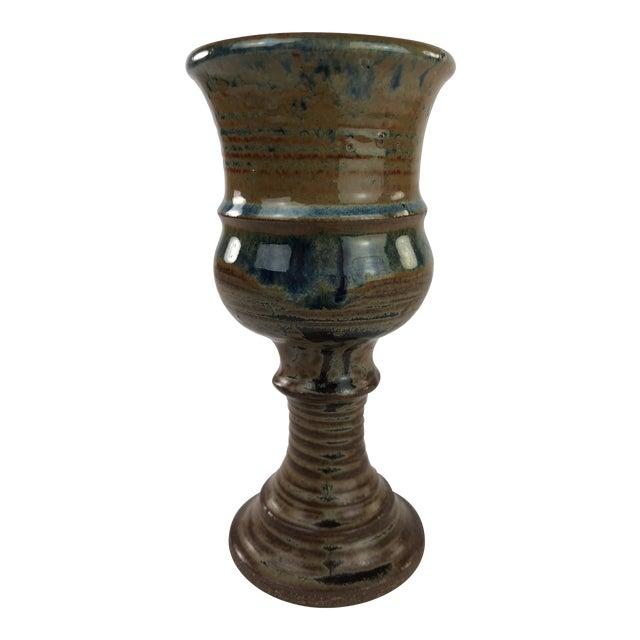 1970s Boho Chic Stoneware Studio Pottery Stemmed Cup For Sale