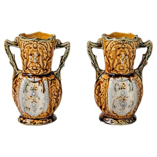 English Majolica Style Vases - A Pair