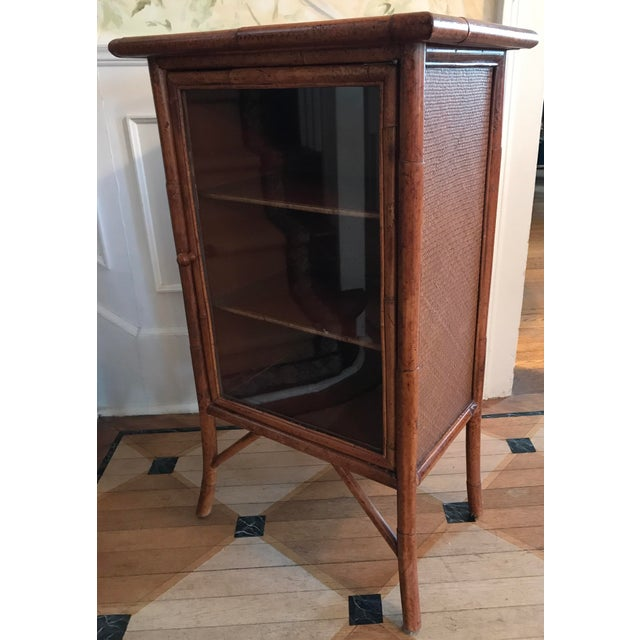 Wicker and Bamboo Maitland Smith Cabinet - Image 3 of 9