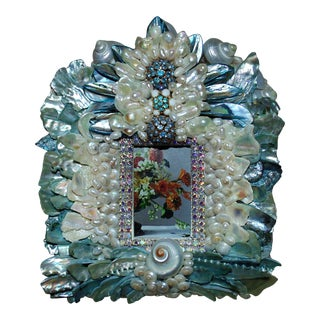 Blue & White Shells and Jewels Picture Photo Frame For Sale