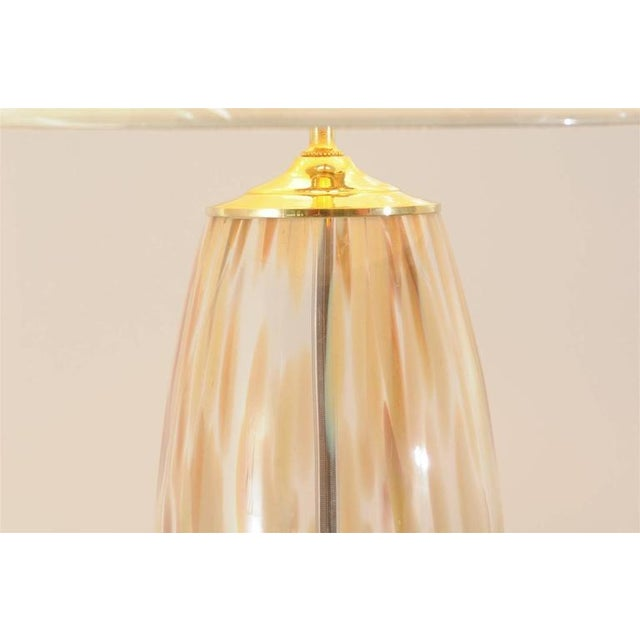 Stunning Pair of Blown Murano Lamps with Brass and Lucite Accents For Sale In Atlanta - Image 6 of 9