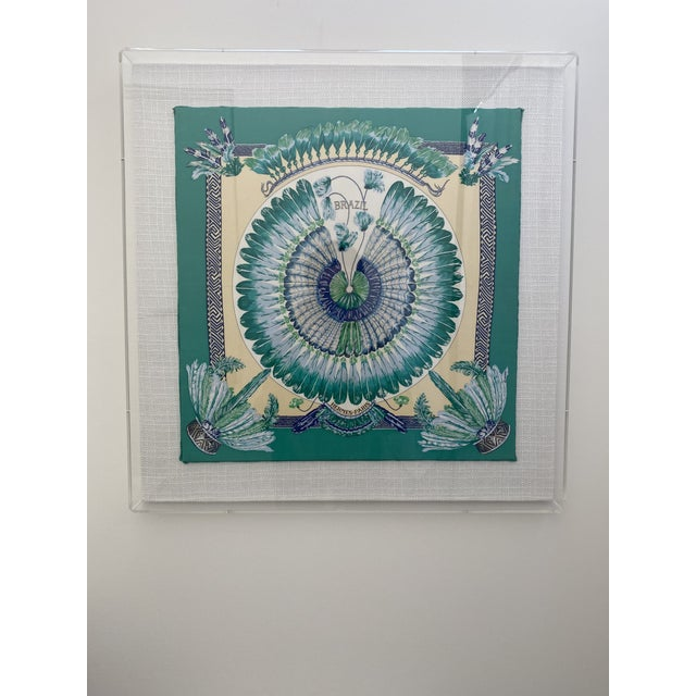 1980s Hermès Brazil Scarf in Acrylic Frame on Linen For Sale - Image 5 of 5