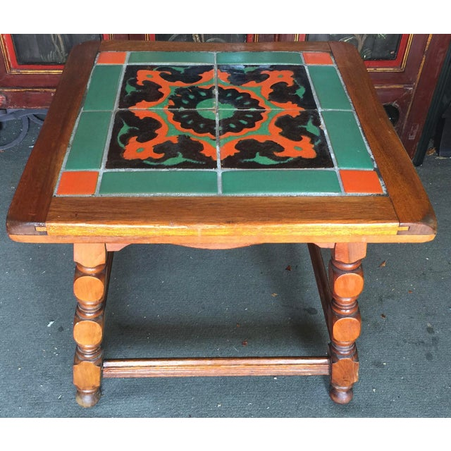 Green Calfornia Catalina Tile Top Table Mission For Sale - Image 8 of 8