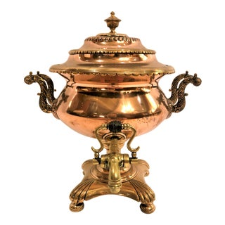 "Antique English Copper and Brass ""Samovar"" or Urn for Coffee and Tea. For Sale"