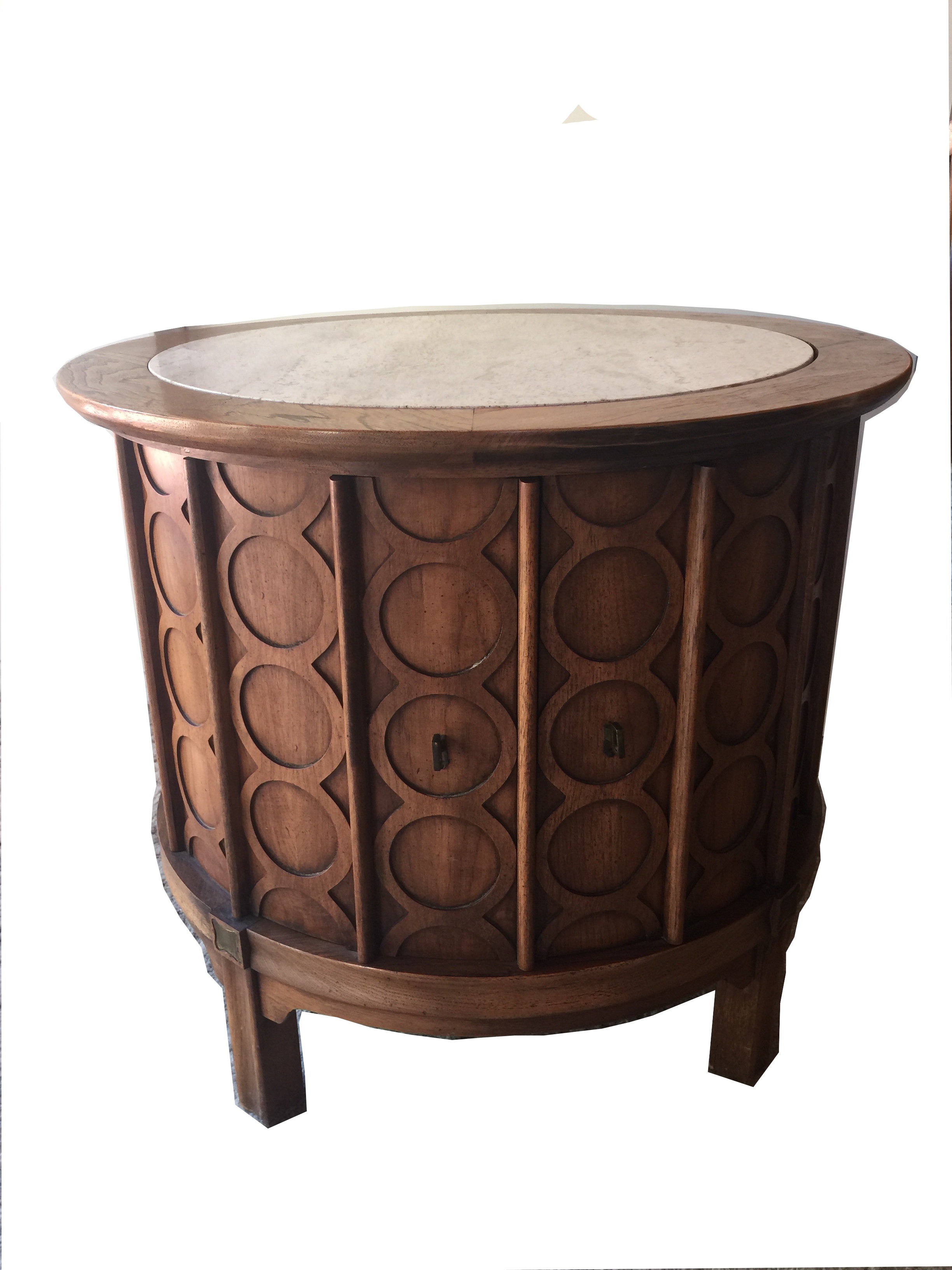 Thomasville MidCentury Round Travertine Top Commode Chairish