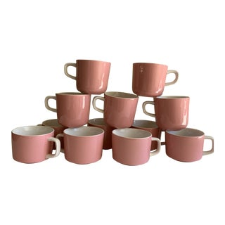 Midcentury Mikasa Pink and White Cups, Set of 12 For Sale