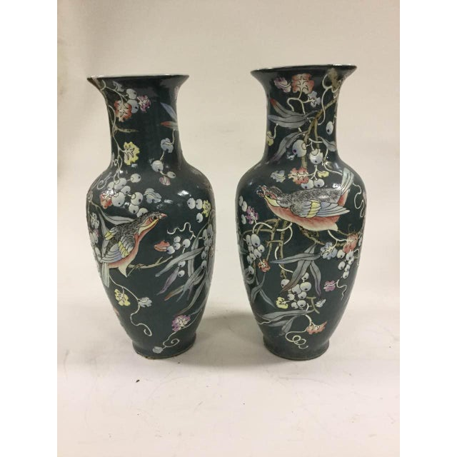 Black Porcelain Chinese Vintage Flower And Bird Vases A Pair
