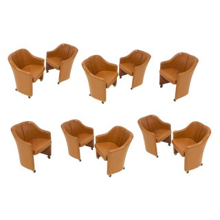 "Eugenio Gerli for Tecno ""Series 142"" Executive Leather Dining Chairs- Set of 10 For Sale"