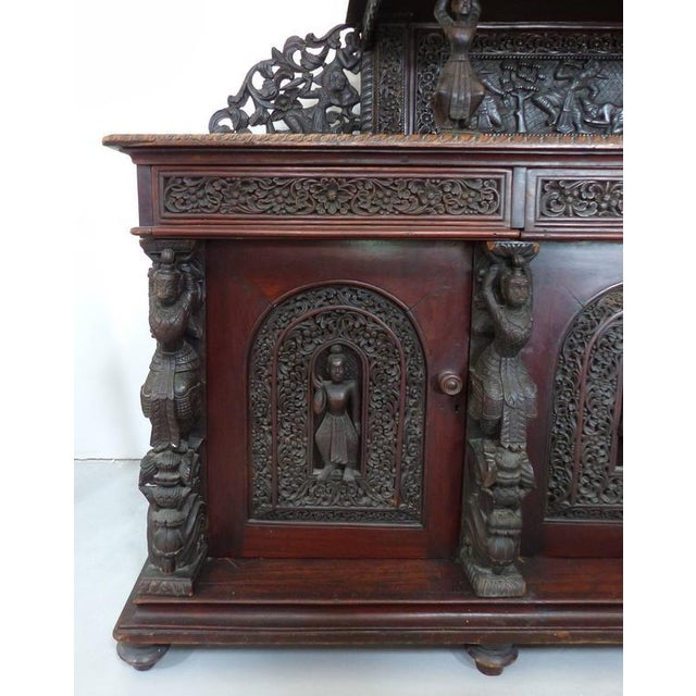 19th Century Burmese Over-Scale Carved Rosewood Anglo-Indian Sideboard For Sale - Image 4 of 11
