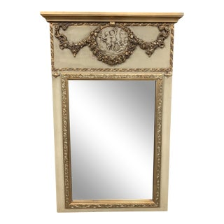 French Louis XVI Style Cherubs Painted and Parcel Gilt Trumeau Mirror For Sale