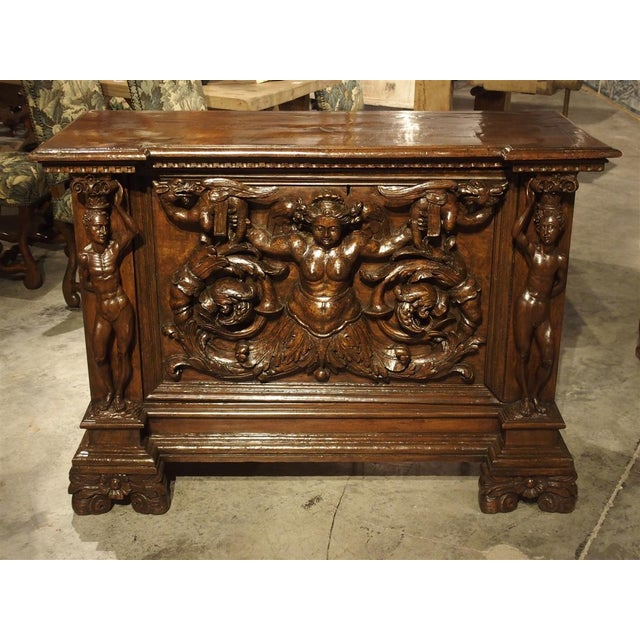 Antique Italian Walnut Wood Buffet / Credenza From Rome, 19th Century For Sale - Image 13 of 13
