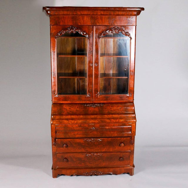Empire Antique American Empire Flame Mahogany Carved Slant Front Secretary 19th Century For Sale - Image 3 of 10