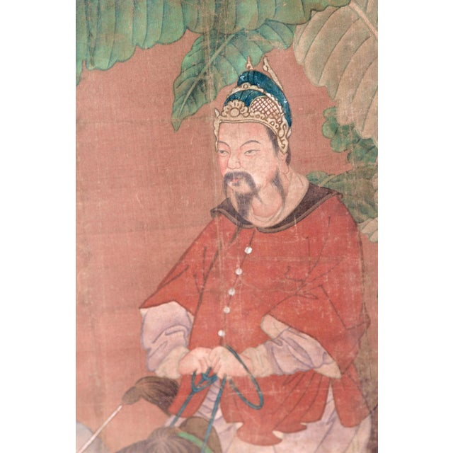 Gold Chinese Scroll Painting of a Dignitary on Horseback For Sale - Image 8 of 11