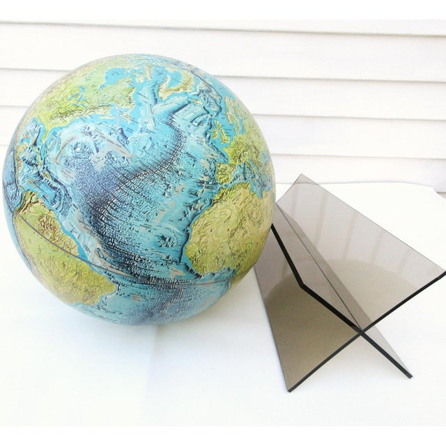 Blue Large Replogle World Globe and Lucite Stand For Sale - Image 8 of 9