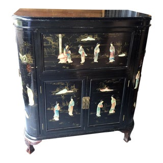 1950s Vintage Chinoiserie Bar Cabinet For Sale