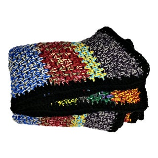 Vintage Wool Hand Knit Cozy Throw For Sale