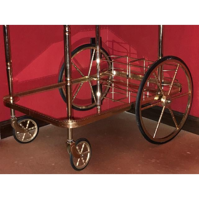Mid Century French Hollywood Regency Brass Bar Cart W/ Mirrored Trays For Sale - Image 11 of 12