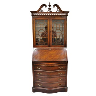 Antique Chinese Chippendale Mahogany Carved Fretwork Bookcase Secretary Desk For Sale