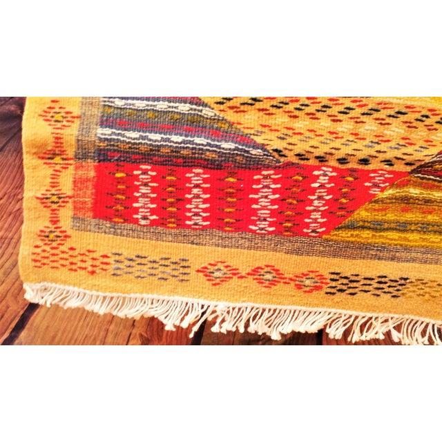 """Moroccan Zanafi Tribe Berber Wool Kilim Area Rug 76.5"""" x 42"""" - Image 7 of 7"""