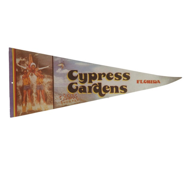 Old New House Vintage Cypress Gardens Florida Felt Flag Pennant For Sale - Image 4 of 4