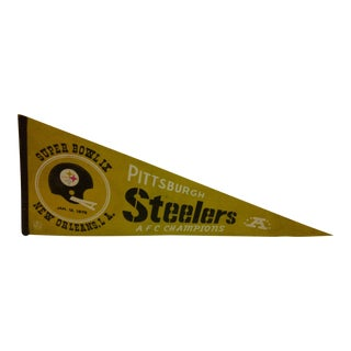 Vintage NFL Pittsburgh Steelers AFC Champions Super Bowl IX Team Pennant 1975