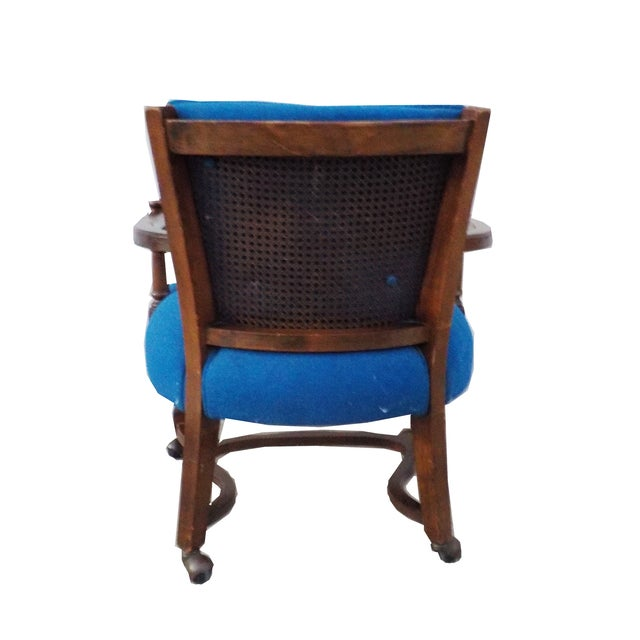 Hollywood Regency Wood Desk Chair With Caning For Image 5 Of 6