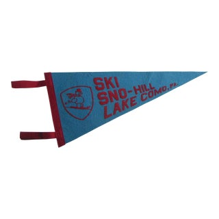 Lake Como Pennsylvania Ski Sno-Hill Felt Pennant With Snowman For Sale