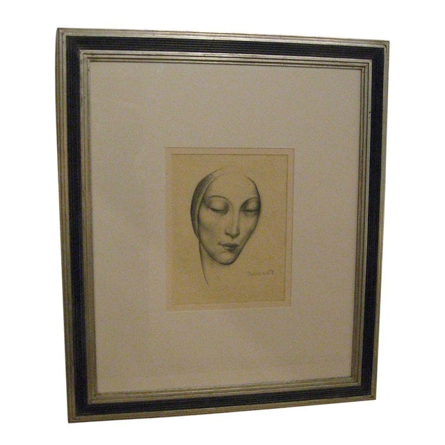 Enzo Baccante Art Deco Pencil Portrait - Image 1 of 6