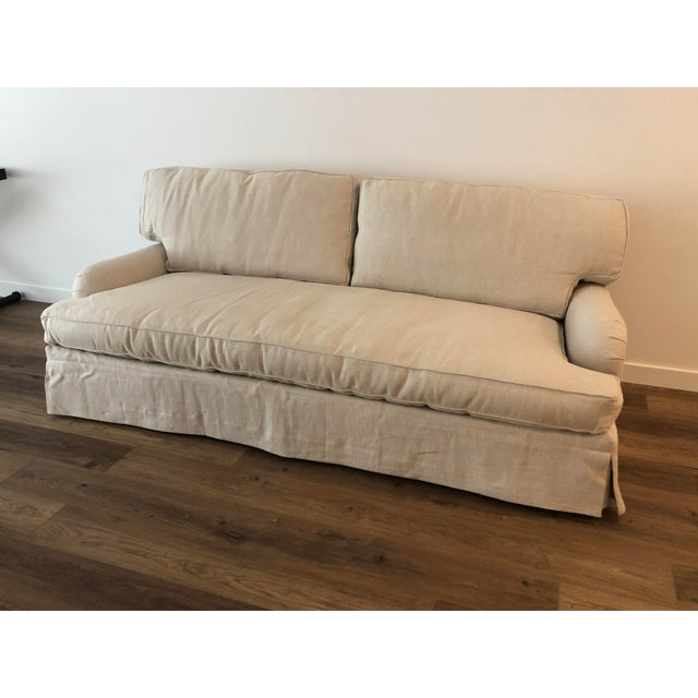 Lee Industries Down FIlled Belgain Linen Sofa For Sale - Image 13 of 13