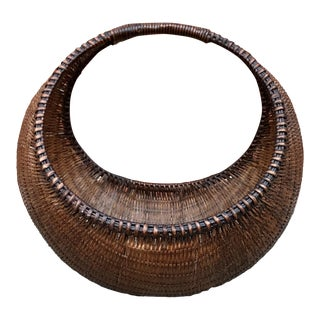 Vintage Boho Circular Basket For Sale