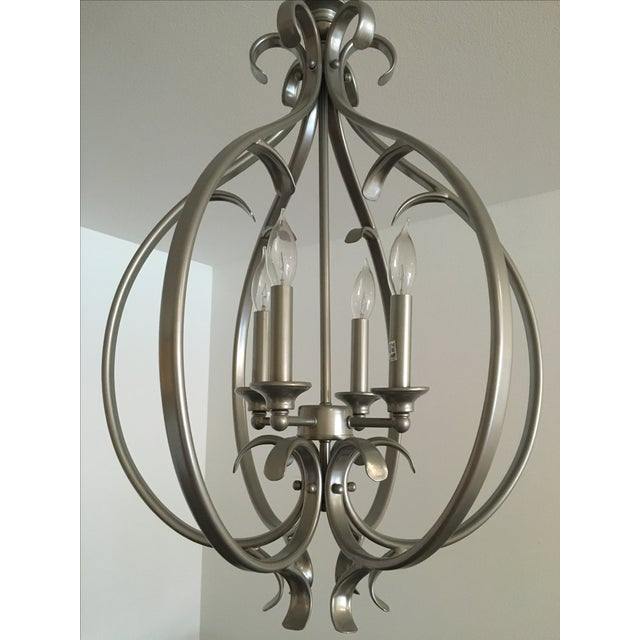 Transitional Silver-Tone Chandelier - Image 4 of 5