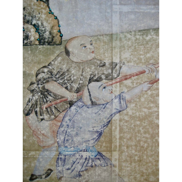19th Century Chinese Hand Painted Wallpaper Panel, Framed For Sale - Image 9 of 13