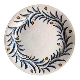 Large Italian Hand Painted Serving Platter With Olive Branch Design For Sale