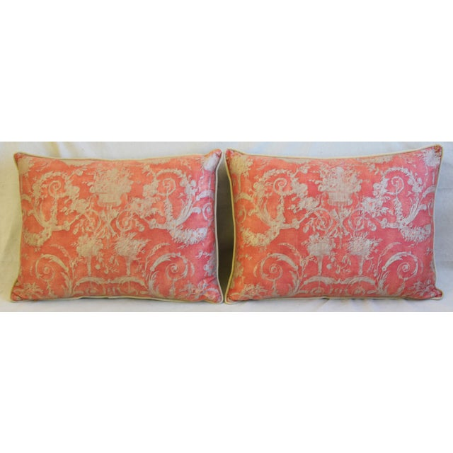 """Pair of large custom-tailored cotton Italian Mariano Fortuny """"Festoni"""" pillows in a stunning pomegranate red and..."""
